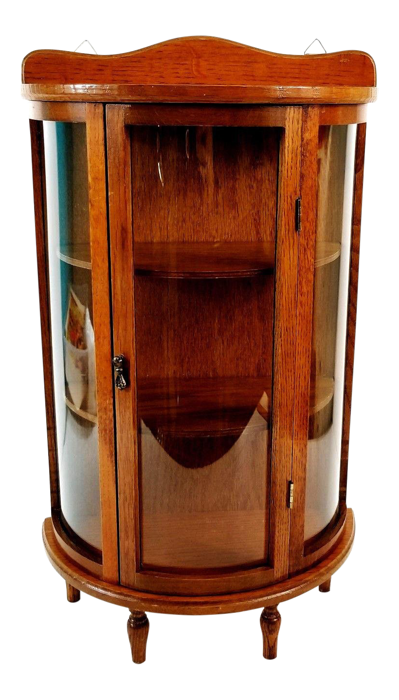 Vintage Wood Curved Glass Tabletop Or Wall Hanging Display Curio Cabinet