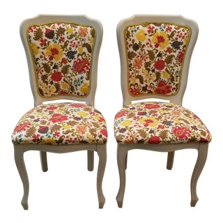 Vintage Mid Century Reupholstered Colorful Floral Victorian Chairs - A Pair For Sale