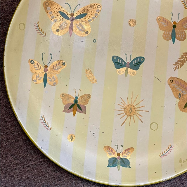 1950s Georges Briard Tole Butterflies + Flora Tray, Signed For Sale - Image 9 of 13