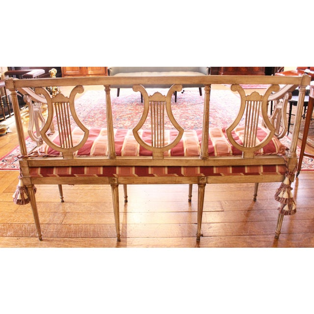 Neoclassical 1900s Triple Lyre Back Settee For Sale - Image 3 of 8