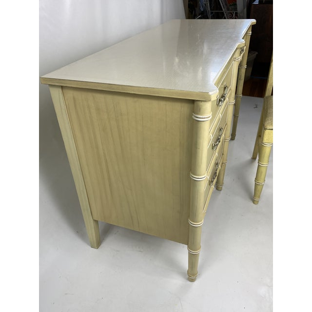 """Light Yellow 1960s Hollywood Regency Henry Link """"Bali Hai"""" Faux Bamboo Desk W/ Chair - 2 Pieces For Sale - Image 8 of 11"""