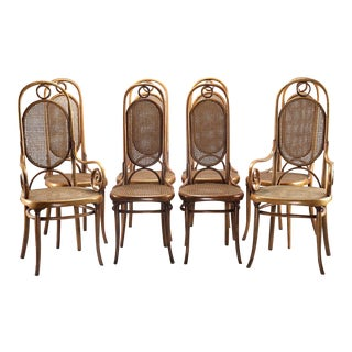 Two-Arm Six Side Thonet 207R Long John Bentwood Caned Chairs - Set of 8