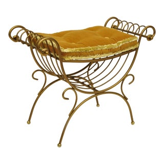20th Century Hollywood Regency Gold Curule Wrought Iron X-Frame Vanity Bench For Sale