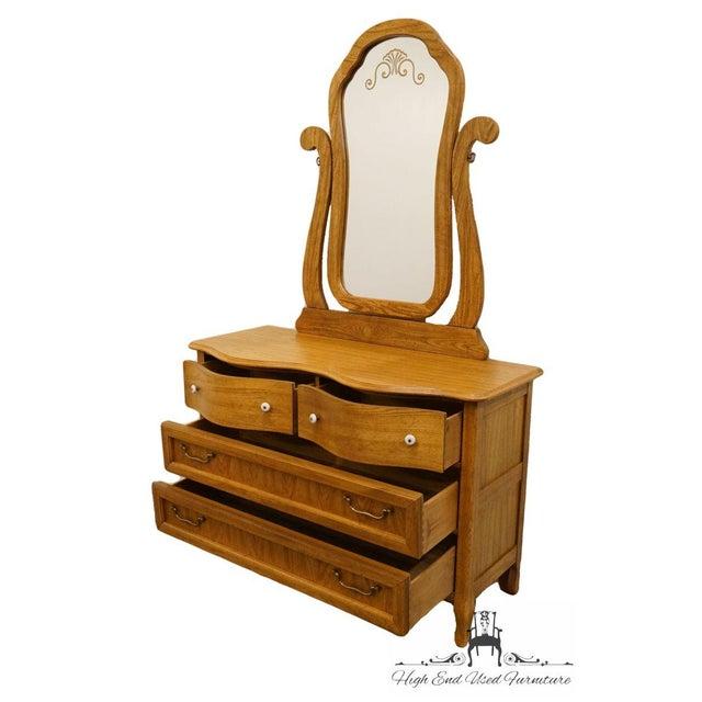Glass Pulaski Furniture Keepsakes Collection Oak Dresser & Wishbone Mirror For Sale - Image 7 of 13