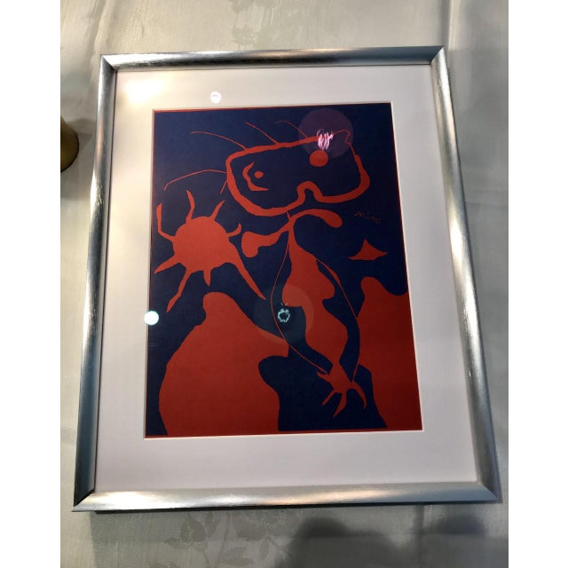 Abstract Joan Miro XXe Siècle 4 Noël Lazzaro 1st Edition Signed Linocut Print Mid Century Modern For Sale - Image 3 of 3