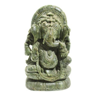 Ganesha Green Soapstone Carving For Sale