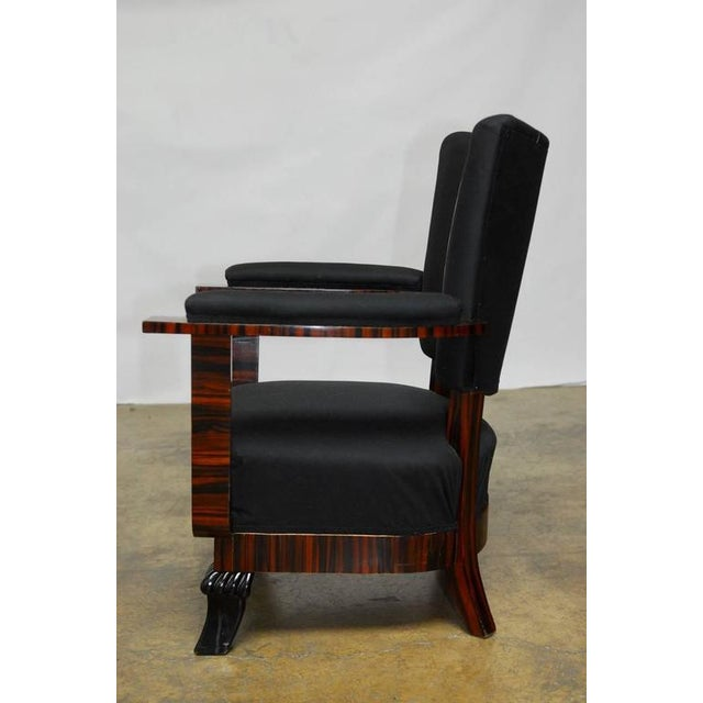 French Art Deco Macassar Club Chairs - A Pair For Sale - Image 4 of 10