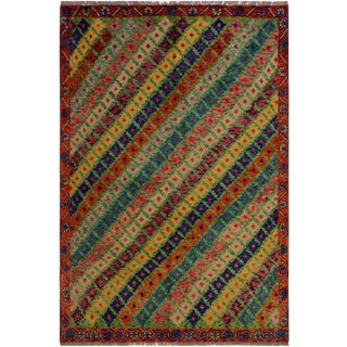 Balouchi Anjanett Green/Orange Wool Rug - 4'9 X 6'6 For Sale