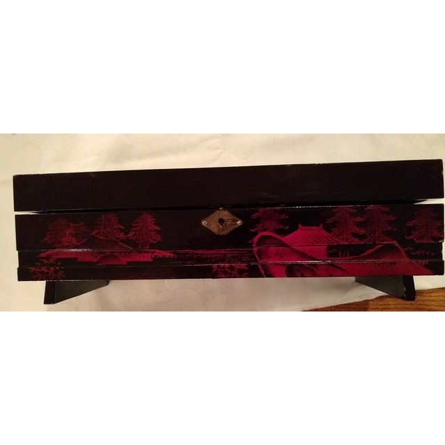 Antique French Black Lacquered Jewelry Musical Box For Sale - Image 4 of 10