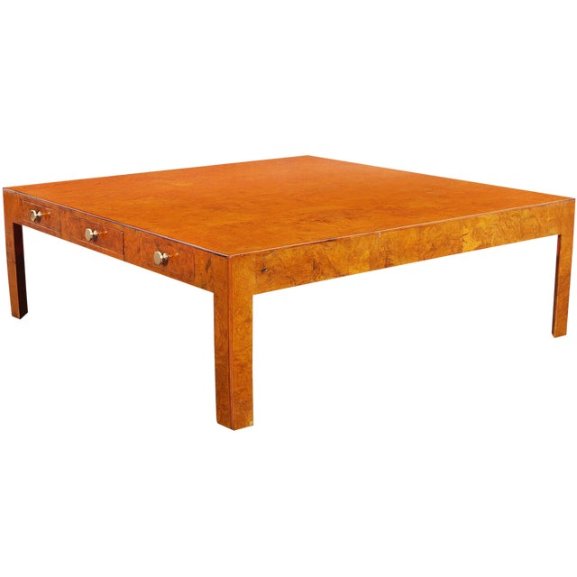 Vintage Italian Burl Wood Coffee Table by Cannell & Chaffin For Sale