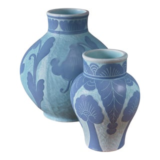 Josef Ekberg Pair of Ceramic 'Sgraffito' Vases for Gustavsberg, Sweden, 1920s For Sale