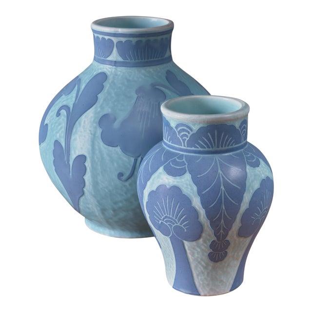 Josef Ekberg Pair of Ceramic 'Sgraffito' Vases for Gustavsberg, Sweden, 1920s For Sale