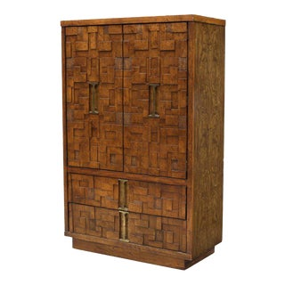 Lane Brutalist Style Wood Mosaic Bachelor's Chest, circa 1970 For Sale