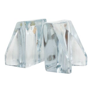 Blenko Sculptural Glass Wedge Bookends by Wayne Husted, Mid Century Modern For Sale