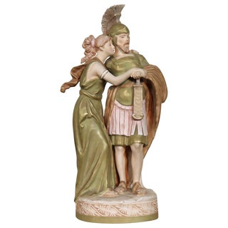 20th Century Porcelain Sculpture Group Neoclassical Couple in Love by Royal Dux For Sale