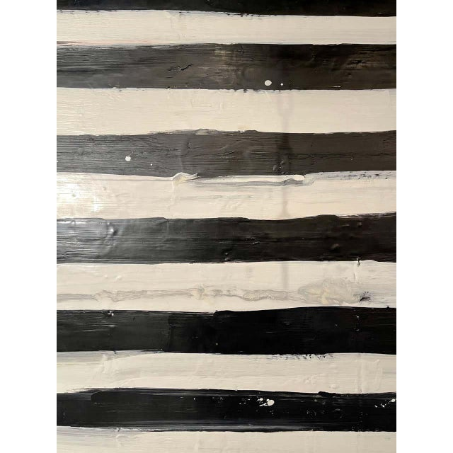 "Encaustic Lynn Basa Encaustic Black and White Stripe Panel ""Not So Simple"" 2012 For Sale - Image 7 of 12"