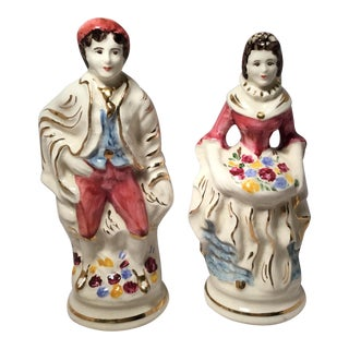 Standing Man & Woman Ceramic Figures - A Pair For Sale