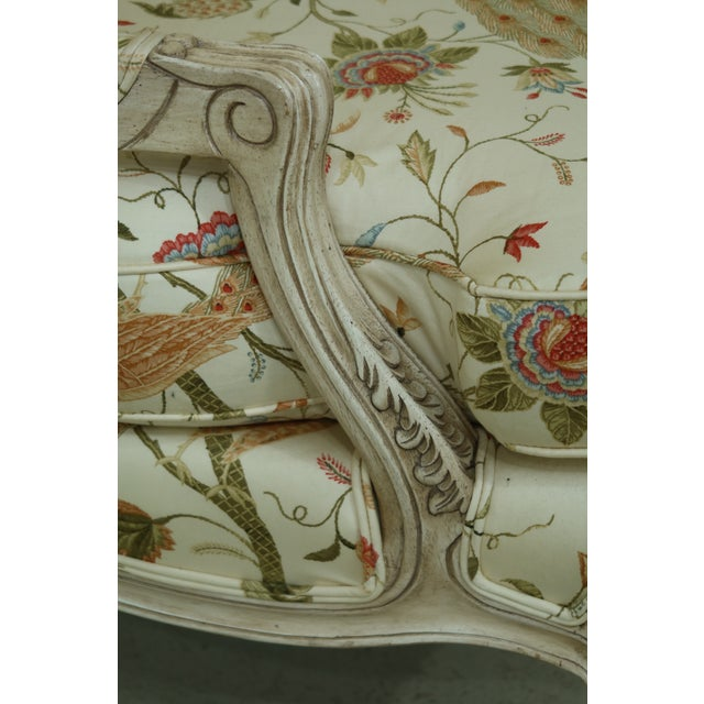 2010s Thomasville Decorator Upholstered Peacock Print French Chair For Sale - Image 5 of 11