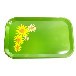 Vintage Mid Century Green Metal Snack Trays With Floral Designs, Made in America - 24 Pieces Preview