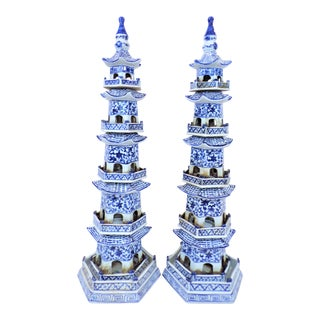 Blue and White Chinoiserie Porcelain Pagoda Statues - a Pair For Sale