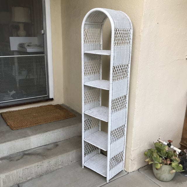 White metal wrapped wicker and wood etagere shelf unit organizer or plant decor accent for indoor or outdoor spaces....