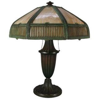 Antique Bradley & Hubbard School Arts & Crafts Bent Slag Glass Table Lamp