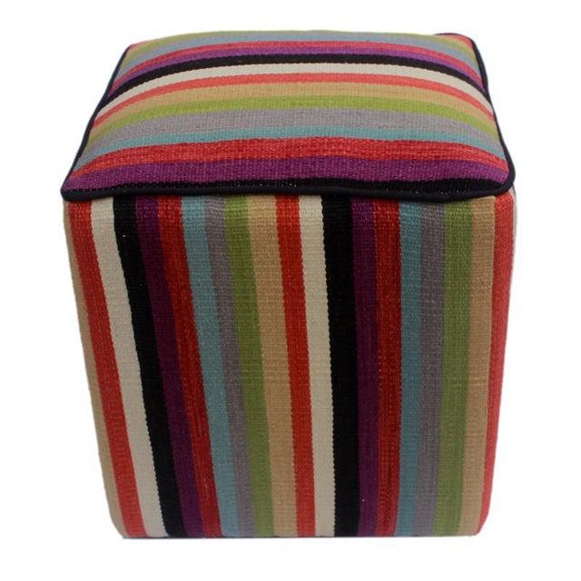 2010s Arshs Donetta Red/Ivory Kilim Upholstered Handmade Ottoman For Sale - Image 5 of 8