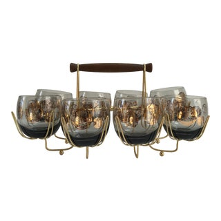 Mid-Century Modern Cocktail Glasses & Atomic Caddy - Set of 9 For Sale
