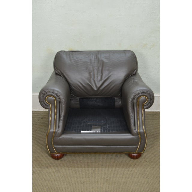 Animal Skin Quality Leather Club Chair W/ Ottoman For Sale - Image 7 of 12
