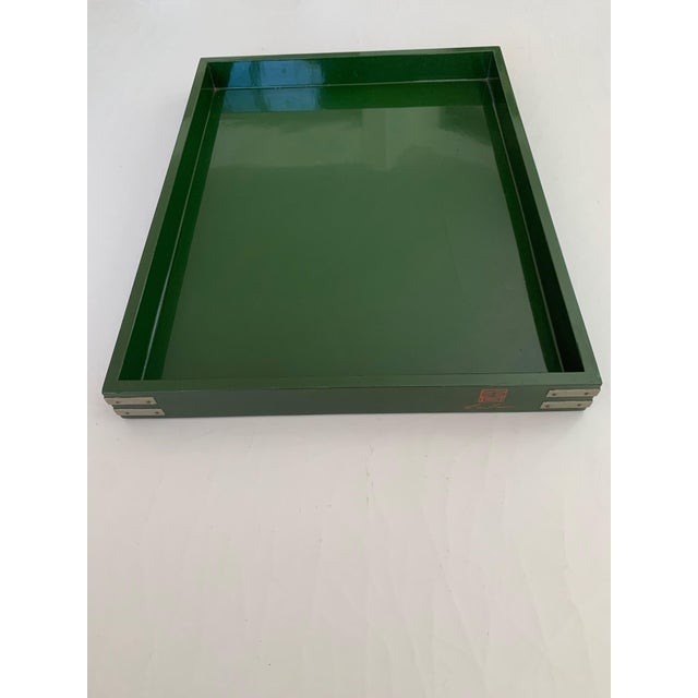 """1970s Roe Kasian, """"British Racing Car Green"""" Lacquer Tray - 1970's For Sale - Image 5 of 11"""