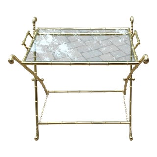 Bamboo Brass Folding X-Leg Tray Table For Sale