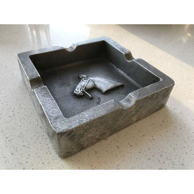 Mid-Century Modern Equestrian Theme Ashtray in Pewter For Sale - Image 10 of 10