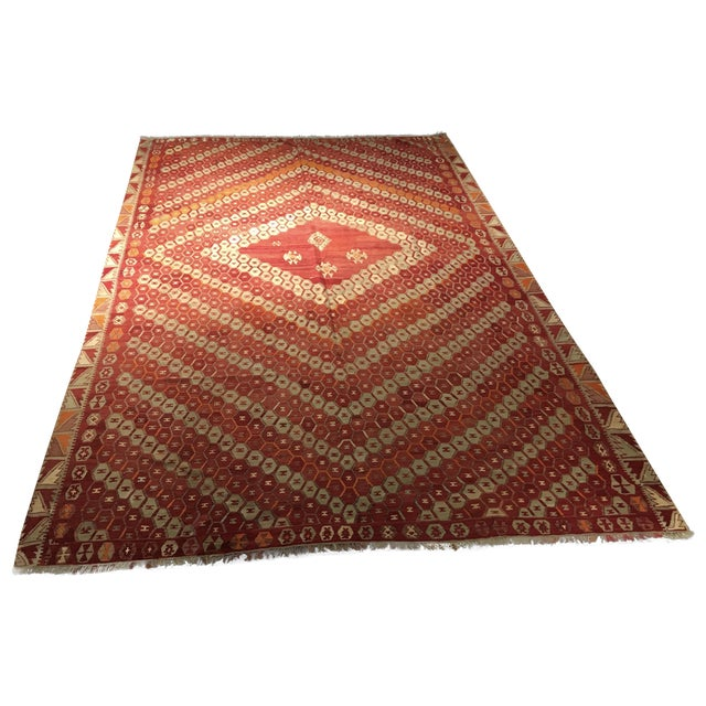Vintage Turkish Kilim Rug - 9′3″ × 13′3″ - Image 1 of 7