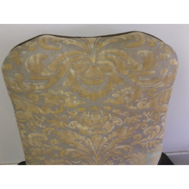 Textile English Style Arm Chairs With Fortuny Upholstery - a Pair For Sale - Image 7 of 12