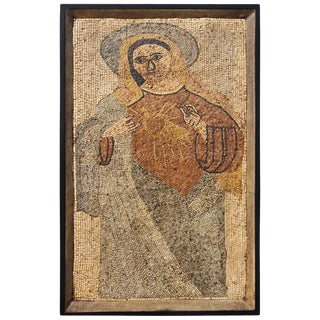 Stone Mosaic of the Madonna and the Sacred Heart For Sale