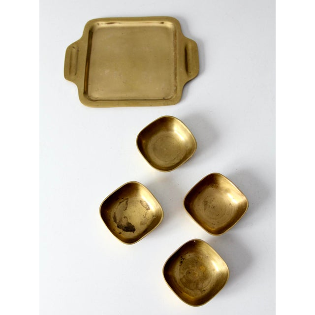Vintage Brass Tray With Dividing Bowls - Set of 5 For Sale - Image 6 of 10
