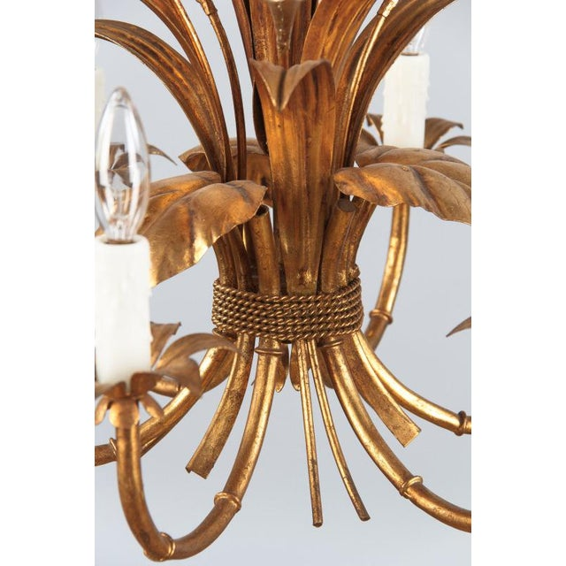 Gold 1950s French Gilded Metal Chandelier For Sale - Image 8 of 13