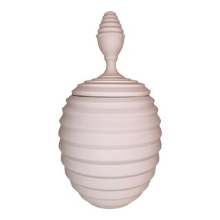 Medium Modern White Ceramic Jar With Lid For Sale