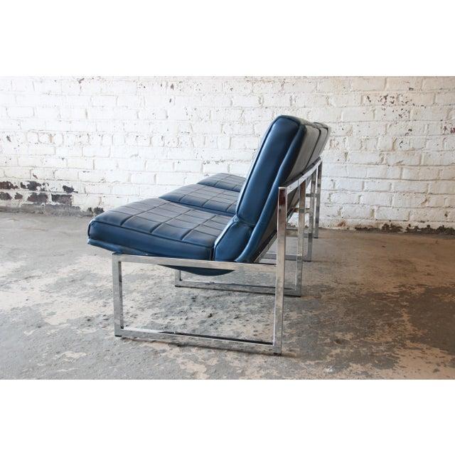 Blue 1970s Vintage Chromcraft Milo Baughman Style Three-Seat Sofa For Sale - Image 8 of 11