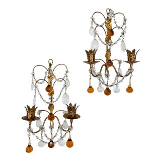 Pair of Vintage Italian Beaded Sconces Amber & Clear Drops For Sale