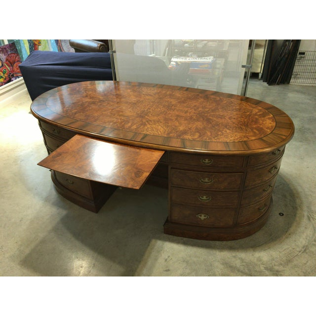 French Provincial Presidential Double Sided Desk - Image 8 of 11