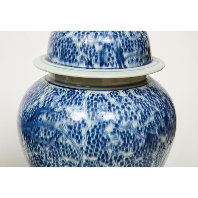 Chinese Blue and White Jars with Lids - A Pair For Sale - Image 9 of 13