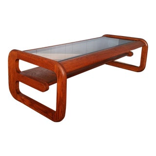 1970s Danish Modern Lou Hodges Cantilever Coffee Table For Sale