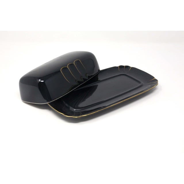 "Japanese ""Wave Golden Black"" Butter Dish by Ranmaru For Sale - Image 3 of 10"