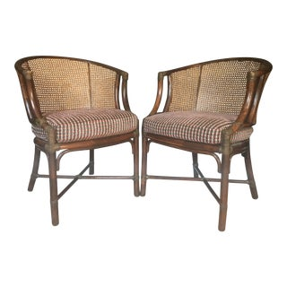 McGuire Caned Rattan Bamboo Chairs - A Pair