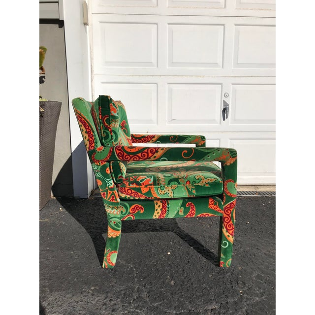 Hollywood Regency 1980s Vintage Velvet Paisley Parsons Chair For Sale - Image 3 of 11