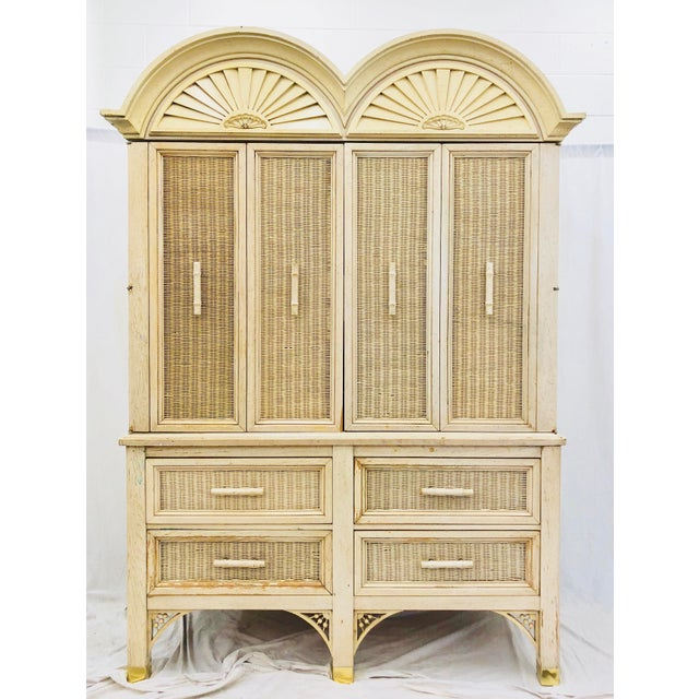 Adirondack Vintage Faux Bamboo Chippendale Style Hutch For Sale - Image 3 of 13