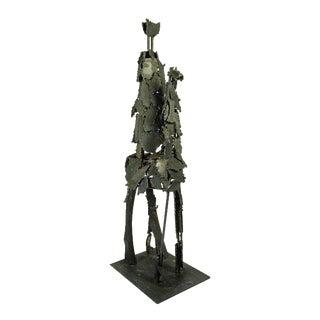 1960s Vintage Brutalist Man on Horse Sculpture For Sale