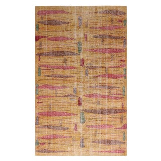 Vintage Mid-Century Yellow and Red Geometric Wool Rug With Green Accents - 5′3″ × 8′7″ For Sale
