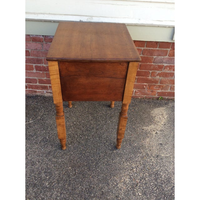 Lacquer Antique Tiger Maple and Cherry 2 Drawer Stand For Sale - Image 7 of 9